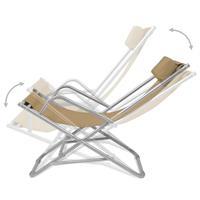 Ligstoelen verstelbaar 69x61x94 cm staal taupe 2 st