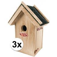 3x Houten vogelhuisjes met bitumen dakje 16x22 cm Multi