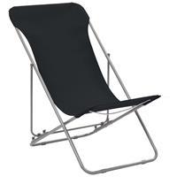 Strandstoelen inklapbaar staal en oxford stof zwart 2 st