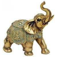 Olifant dieren beeldje goud 16 cm woondecoratie Goudkleurig