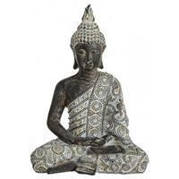 Boeddha beeldje grijs/zwart 24 cm woondecoratie Multi