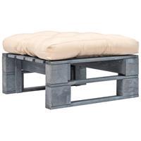 vidaXL Pallet poef met zandkleurig kussen FSC hout grijs
