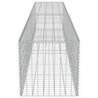 VidaXL Schanskorf muur met deksels 300x50x50 cm gegalvaniseerd staal