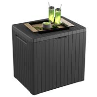 Keter Opbergbox City hout-look antraciet 241869