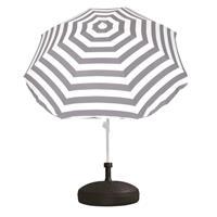 Voordelige set grijs/wit gestreepte parasol en parasolvoet zwart Zwart