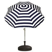 Voordelige set blauw/wit gestreepte parasol en parasolvoet zwart Zwart