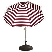 Voordelige set rood/wit gestreepte parasol en parasolvoet zwart Zwart