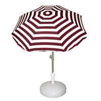 Voordelige set rood/wit gestreepte parasol en parasolvoet wit Wit