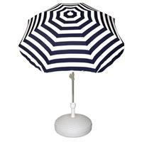 Voordelige set blauw/wit gestreepte parasol en parasolvoet wit Wit