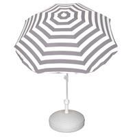 Voordelige set grijs/wit gestreepte parasol en parasolvoet wit Wit