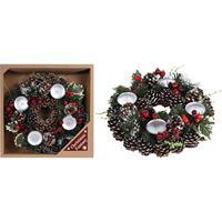 Kerstkrans met decoratie en waxinelichtjes 30,5 cm Groen