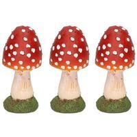 3x Decoratie huis/tuin beeldje paddenstoel 13 cm Multi