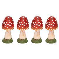 4x Decoratie huis/tuin beeldje paddenstoel 13 cm Multi