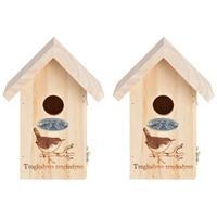 2x Vogelhuisjes met vogel silhouet 19,5 x 9,5 cm Multi