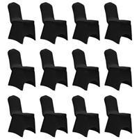 VidaXL Stoelhoes stretch 12 st zwart