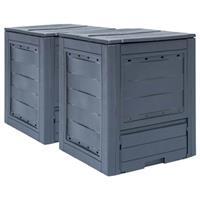 VidaXL Compostbakken 2 st 520 L 60x60x73 cm grijs