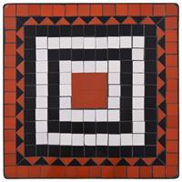 VidaXL Bistrotafel mozaïek 60 cm keramiek terracottakleurig en wit