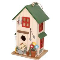 Houten vogelhuisje/nestkastje wit/groen 26 cm Multi