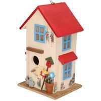 Houten vogelhuisje/nestkastje wit/rood 26 cm Multi