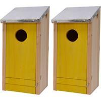 Decoris 2x Houten vogelhuisjes/nestkastjes gele voorzijde 26 cm Geel