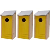Decoris 3x Houten vogelhuisjes/nestkastjes gele voorzijde 26 cm Geel