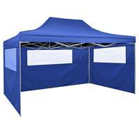 VidaXL Partytent met 3 zijwanden inklapbaar 3x4 m staal blauw