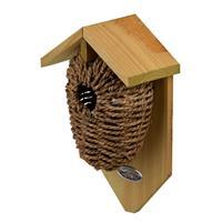 Decoris Houten vogelhuisje/nestbuidel zeegras 26 cm Bruin
