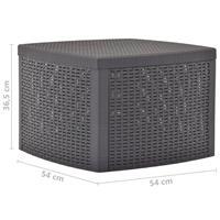 VidaXL Bijzettafel 54x54x36,5 cm kunststof mokka