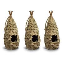 3x Nestbuidel vogelhuisje gevlochten 16 cm Bruin