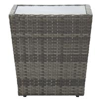 vidaXL Theetafel 41,5x41,5x43 cm gehard glas grijs