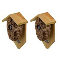 Decoris 2x Stuks houten vogelhuisjes/nestbuidels zeegras 26 cm Bruin