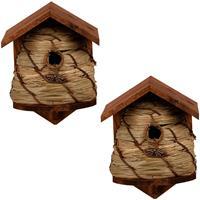 2x Vogelhuisjes/nestkastjes bijenkorf 25.8 cm Bruin