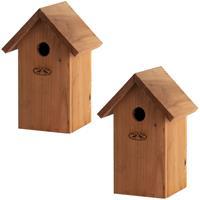 2x Vogelhuisjes/nestkastjes pimpelmees / pimpelmeesjes 25.7 cm Bruin