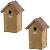 2x Vogelhuisjes/nestkastjes pimpelmees/pimpelmeesjes 25.8 cm Bruin