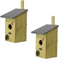 2x Vogelhuisjes/nestkastjes spreeuwen 39 cm Bruin