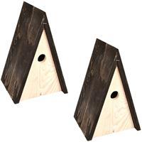 2x Vogelhuisjes/nestkastjes wigwam 27,5 cm Bruin