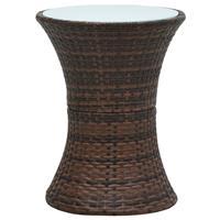 vidaXL Tuinbijzettafel trommelvormig poly rattan bruin