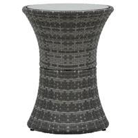 vidaXL Tuinbijzettafel kegelvormig poly rattan grijs