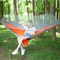 Draagbare outdoor camping volautomatische nylon parachutehangmat met klamboes, afmeting: 290 x 140 cm (zilvergrijs + oranje)