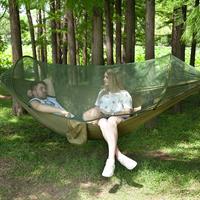 Draagbare outdoor camping volautomatische nylon parachutehangmat met klamboes, afmeting: 250 x 120 cm (legergroen)