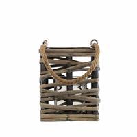 Spiru Windlicht van gevlochten Bamboe en Hout Grijs (15 x 12 cm)
