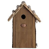 Vogelhuisjes/nestkastje koolmees rieten dakje 31 cm met kijkluik - Vogelhuisjes