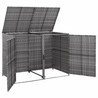 VidaXL Containerberging dubbel 148x77x111 cm poly rattan antraciet