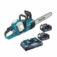 makita DUC355PT2 36V (2x 18V) Li-Ion accu kettingzaag set (2x 5.0Ah) - 350mm - koolborstelloos