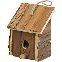 1x Broedhuis/vogelhuisje vierkant met schuin dak natural 9 x 11 x 16 cm - Vogelhuisjes