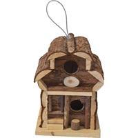 1x Broedkast vogelhuisje rond dak naturel 15 x 15 x 21,5 cm - Vogelhuisjes