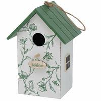 Merkloos Vogelhuisje/nestkastjes wit/groen hout 22 cm -