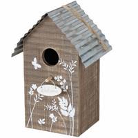 Merkloos Vogelhuisje/nestkastjes bruin hout Welcome 22 cm -