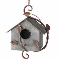 Merkloos Vogelhuisje/nestkastjes zink grijs/bruin 30 cm -