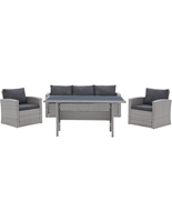 Gardini Loungeset  York Wicker Grijs